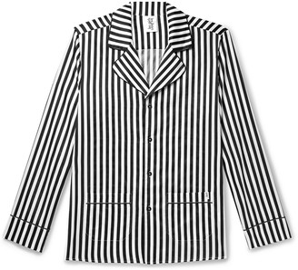 Les Girls Les Boys Camp-Collar Piped Striped Cotton-Sateen Pyjama Shirt