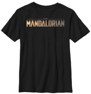 Star Wars Fifth Sun Big Boy's The Mandalorian Title Fill Logo Short Sleeve T-Shirt
