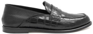 Loewe Crocodile-embossed Leather Loafers - Black