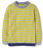 Boy's Mini Boden Stripe Elbow Patch Sweater