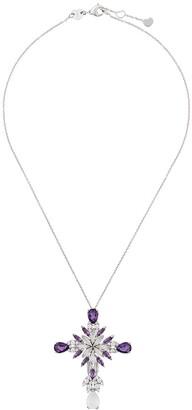 Pasquale Bruni 18kt white gold Ghirlanda diamond, amethyst and quartz cross pendant necklace