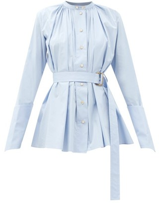 Palmer Harding Palmer//harding - Aurita Gathered Belted Cotton-blend Shirt - Light Blue