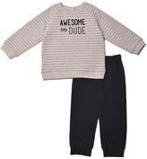 Baby Gear Gray Stripe 'Awesome' Sweatshirt & Black Joggers - Infant