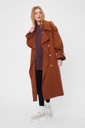 Nasty Gal Womens Come Over-sized Here Belted Trench Coat - Brown - 4