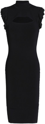 Bailey 44 Bewitched Ruffle-trimmed Cutout Ribbed-knit Dress