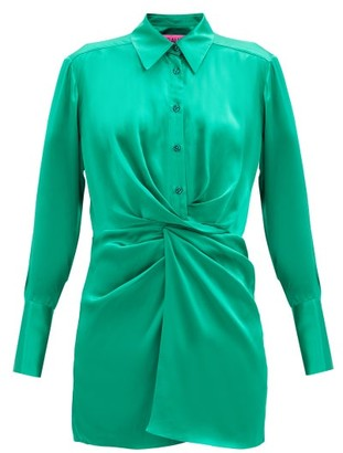 GAUGE81 Matsu Ruched-front Silk Shirt Dress - Green
