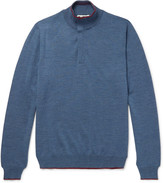 Etro - Contrast-tipped Mélange Wool Half-zip Sweater