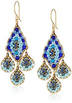 Miguel Ases Medium Triple Drop Diamond Center Swarovski Chandelier Drop Earrings