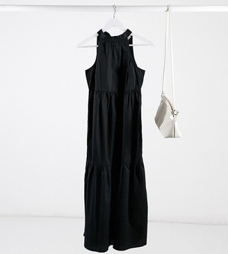 Vila Petite tiered maxi dress with halter neck in black