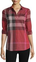 Burberry Long-Sleeve Check Cotton Shirt, Berry Red