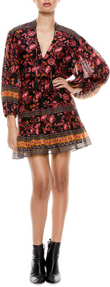 Alice + Olivia Sedona Mandarin-Collar Mini Dress