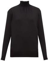 Prada Shirred-neck Wool Sweater - Womens - Black