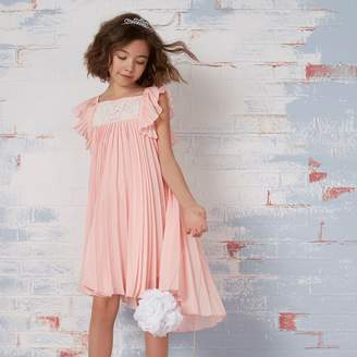 River Island Girls Pink pleated lace flower girl dress