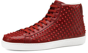 Gucci Brooklyn Leather Studded High-Top Sneaker, Red