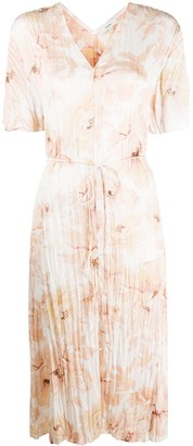Vince Floral-Print Pleated Dress