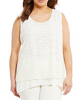 Multiples Plus Sleeveless Keyhole Back Embroidered Top