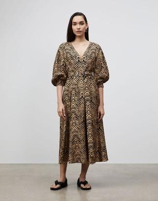 Lafayette 148 New York Faye Dress In Mini Zevron Print Shantung