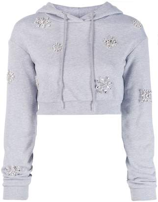 Area Embellished Cropped Hoodie