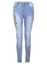 Quiz Light Blue And Red Embroidered Frayed Hem Jeans