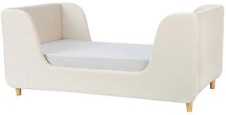 One Kings Lane Bodhi Toddler Bed - Almond Velvet - frame, natural; upholstery, almond