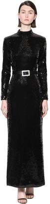De La Vali Long Sequined Back Cutout Dress