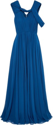 Jason Wu Cold-shoulder Pleated Silk-chiffon Gown
