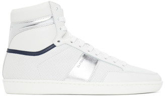Saint Laurent White and Silver Court Classic SL/10H Sneakers