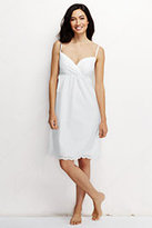 Classic Women's Petite Poplin Embroidered Gown-White