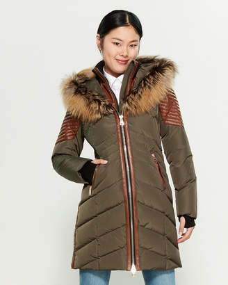 Series By Nicole Benisti Cortina Leather & Real Fur-Trimmed Down Coat