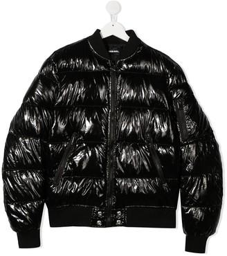 Diesel TEEN logo-print puffer jacket