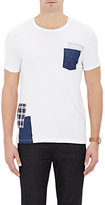 Barneys New York MEN'S PATCH-EMBELLISHED JERSEY T-SHIRT-WHITE SIZE S