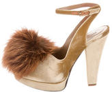 Sonia Rykiel Fur-Trimmed Velvet Pumps w/ Tags