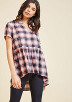 ModCloth Breakfast Nook Bonding Plaid Top in XL