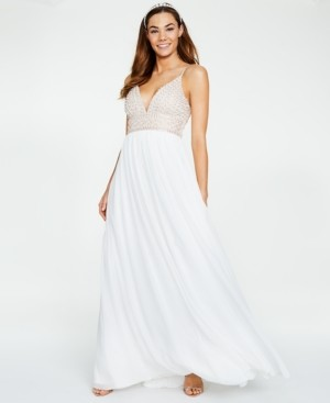 Say Yes to the Prom Juniors' Beaded-Bodice Chiffon Gown, Created for Macy's