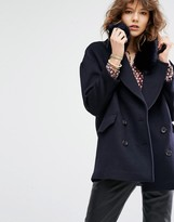 Maison Scotch Boxy Fit Jacket With Removable Faux Fur Collar