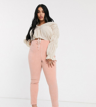 ASOS DESIGN Curve rivington high waisted cord jegging in pink