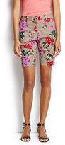 "Classic Women's Petite Mid Rise 7"" Chino Shorts-Black Veranda Floral"