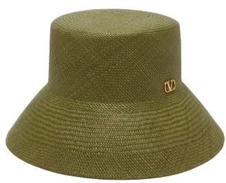 Valentino V-logo Straw Bucket Hat - Womens - Green
