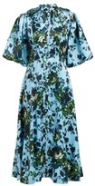 Erdem Margo Floral-print Button-down Dress - Womens - Blue Multi
