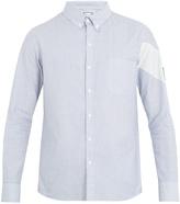Moncler Gamme Bleu Chevron-print single-cuff striped cotton shirt