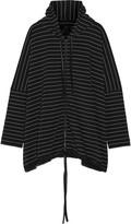 Norma Kamali Oversized striped stretch-cotton hooded coat