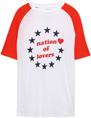 Zoe Karssen Nation Of Lovers Appliqued Printed Cotton And Linen-blend Jersey T-shirt