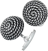 Jan Leslie Spiral Rope Antique Dome Cuff Links, Silver