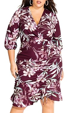 City Chic Plus Ruched Floral Print Dress