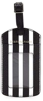 Smythson Panama Leather Luggage Bag Label