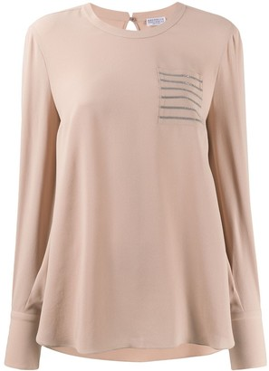 Brunello Cucinelli crepe de Chine long-sleeved top