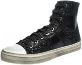Thumbnail for your product : Amiri Black Glitter and Leather Vintage Sunset High Top Sneakers Size 42