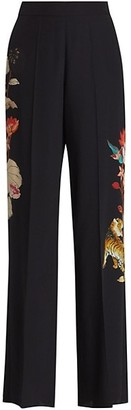 Etro Floral Embroidered Palazzo Silk Pants