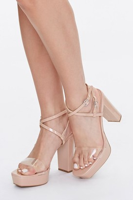Forever 21 Strappy Open Toe Block Heels