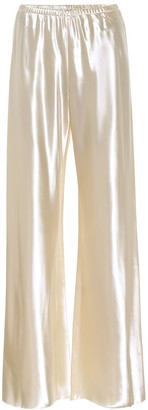 The Row Gala satin high-rise wide-leg pants